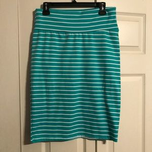 LULAROE Large Cassie Pencil Skirt Green White